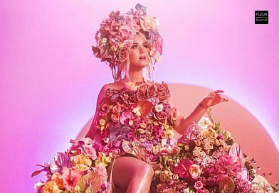 Katy Perry Never Worn White new song floral gown floral dress flowers floral art music video floral design botanical artist Kristen Alpaugh Anthurium FLWR PSTL art fashion projects inspiration Fleur Créatif magazine